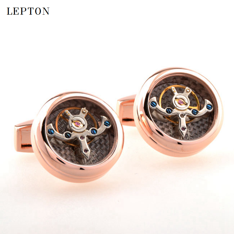 Image 3 - Hot Sale Movement Tourbillon Cufflinks For Mens Lepton High quality Mechanical Watch Steampunk Gear Cuff links Relojes Gemelos-in Tie Clips & Cufflinks from Jewelry & Accessories