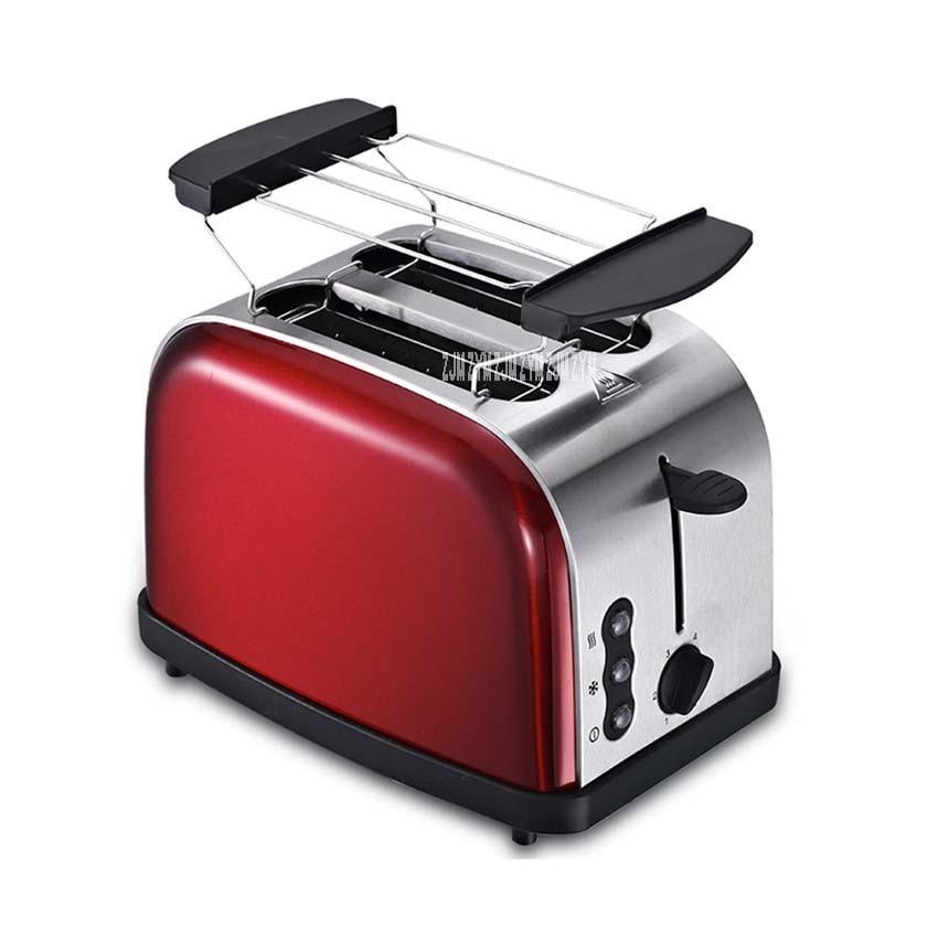 623 Высокое качество бытовой многофункциональный из нержавеющей стали 2 ломтика/4 ломтика тостер автоматический Тостер машина для завтрака серебро - Цвет: red 2 slices