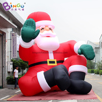 PROMOTIONAL BALLOON 5m inflatable Santa Claus with green glove model waving figure Christmas decoration for advert use display