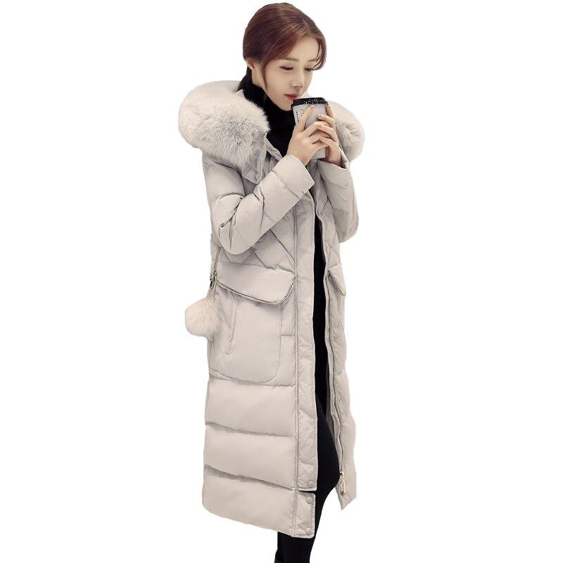 Laine Gray black Long Col Décontractée Grand Solide Coréen Capuchon Chaud Veste Lâche D'hiver Manteau Femelle pink À Épaissie Femmes Parkas Couleur dHqgqwU