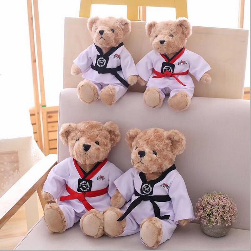 Taekwondo Teddy Bear Toys Soft Plush Stuffed Animal Creative Doll Toy Children Birthday Gifts