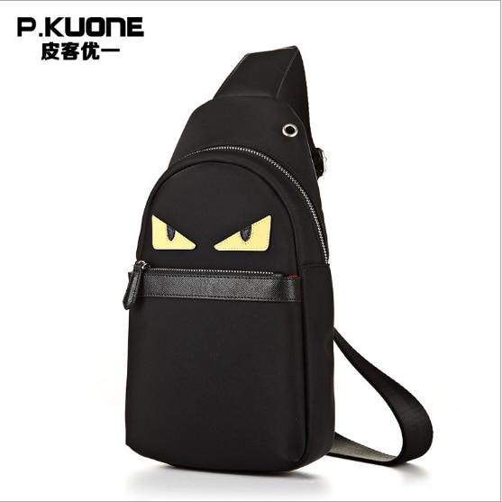 P Kuone 2018 Best Ing Nylon Chest Pack Men Messenger Bag Luxury Handbags Causal Travel