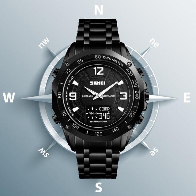 44fa6e503184 Azul del reloj SKMEI de los hombres del reloj del deporte calorías  podómetro cronómetro reloj de pulsera de lujo brújula Themometer Digital relojes  para ...