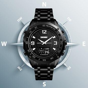 SKMEI мужские спортивные часы, шагомер, секундомер, наручные часы с компасом, цифровые часы для мальчиков, водонепроницаемые часы