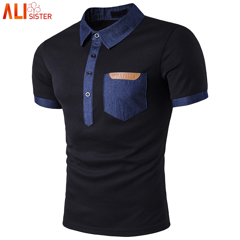 M-3XL Plus Size Men's   Polos   Shirts Casual Simple Pocket Leather Cowboy Spliced Lapel Short Sleeve   POLO   Shirt Summer Homme Tops