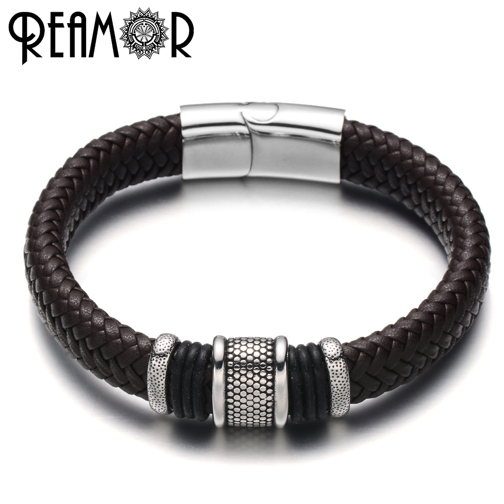 REAMOR 316L Stainless Steel Male Bracelet Simple Style Charms Bracelets Wide Braided Leather Rope with Magnet Buckle Bracelets