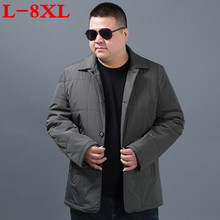 Autumn and winter  8XL 7XL  2017 New Casual Winter Jacket Man Turn-down Collar Parkas For Men Streetwear Padded cotton Overcoat