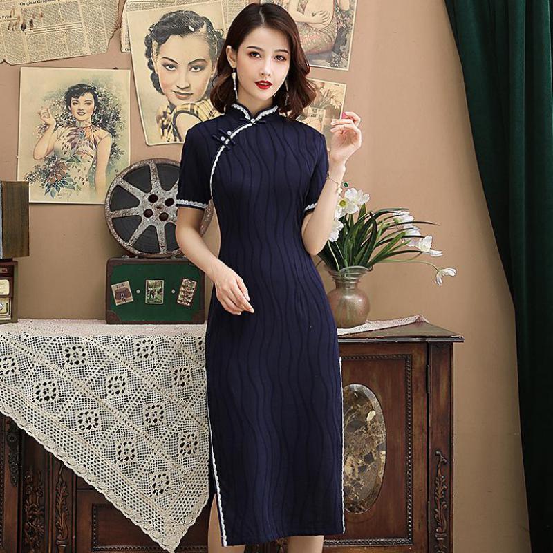 Cotton Linen Short Sleeve Chinese Female Cheongsam Sexy Elegant Long  Dress Summer New Slim Qipao Mandarin Collar Vestidos