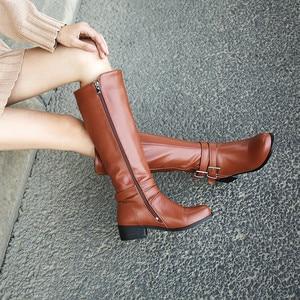 Image 5 - MORAZORA 2020 新ファッション靴女性ラウンドトウジッパー秋冬ブーツの正方形ヒール固体色ニーハイブーツの女性