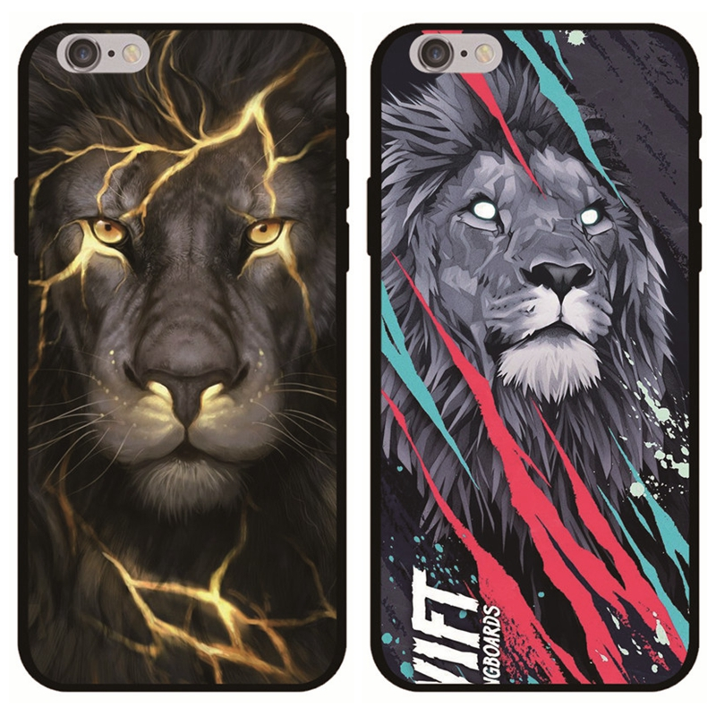 Cool Lion Phone Case For iPhone 6 6S Plus 7 7Plus 8 8Plus Vintage Silicone Soft Back Cover For iPhone X XS Max XR 5 5S Capa Men iPhone