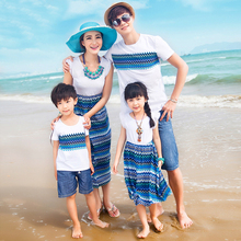 Family fashion summer blue and white porcelain print  otton family set Mother and Daughter Dress Dad and Son T shirt