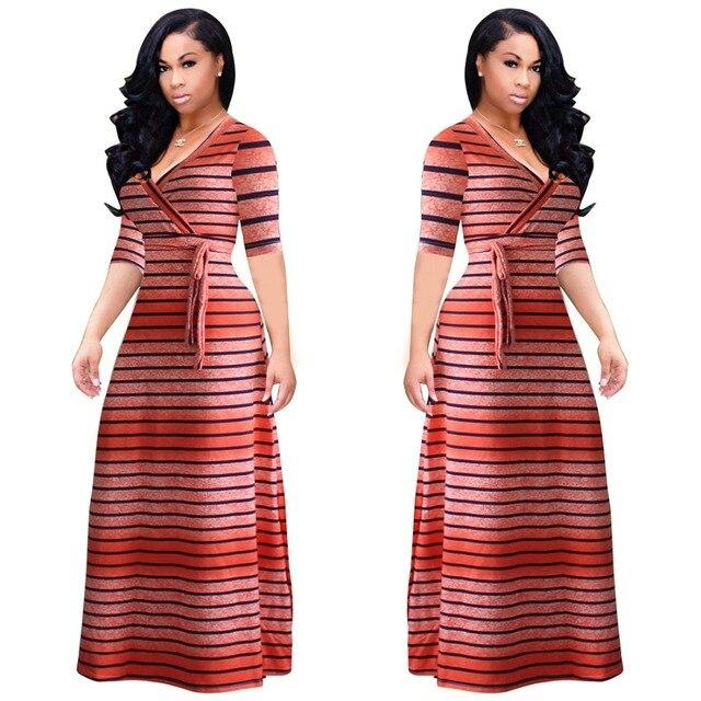 ebabd3fdbd 5XL Plus tamaño mujeres otoño suelto Maxi vestido largo naranja negro rayas  Vestidos de manga corta