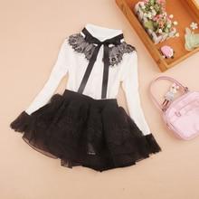 Белая блузка для девочек кружевные топы с длинными рукавами для маленьких девочек и подростков, школьная форма, рубашка в полоску детская одежда для детей возрастом 6, 8, 10, 12 лет