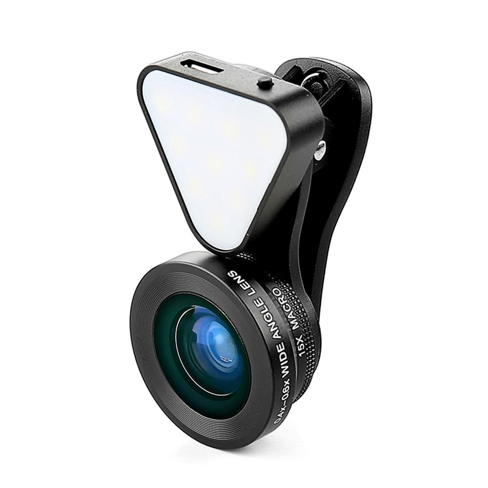 imágenes para Para el iphone 7 3 en 1 Clip-on Lente de Cristal HD de 0.4X Lente gran angular 0.6X 15X Macro-lente con Linterna Recargable