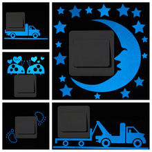 DIY Glow in the Dark Blue Luminous Paper Stickers Removable Cute Cartoon Wall Switch Sticker forChildren Home StylingAccessories