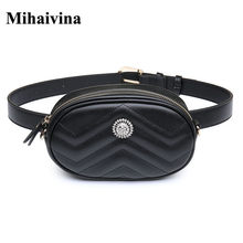 Mihaivina Fashion Women Wavy Lines Waist Belt Bags Leather Circular Chest Bag Small Women Pouch Bags Travel Bag Waist Pack(China)