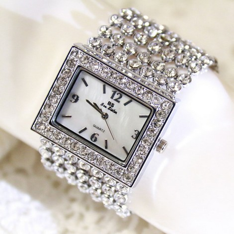 Hot Sales Women Full Rhinestone Watches Lady Shining Dress Watch Stainless Steel Square Bracelet Wristwatch Ladies