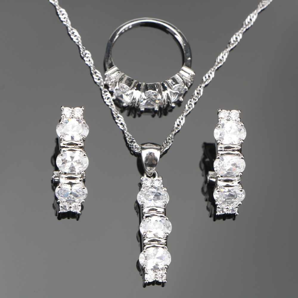 Weißen Steinen Silber 925 Hochzeit Schmuck-Sets Für Frauen Satz von Ohrring und Ringe Halskette Anhänger Freies Schmuck Geschenk-box