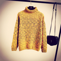 Fall new Fashion grid Winter women knitting Solid Yellow High collar Lovry Girls Pullover Cotton Casaquinho tricot jersey mujer