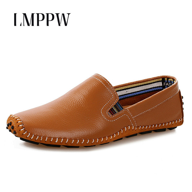 New Plus Size Men Geniune Leather Casual Shoes Soft Comfy Driving Shoes Loafers