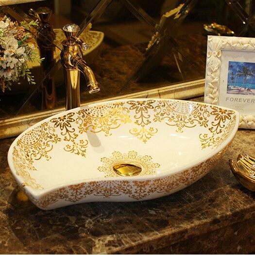Ceramica della fase di lavaggio del bacino sanitari bacino del bagno di arte palazzo in stile retrò di pesce di trasporto libero