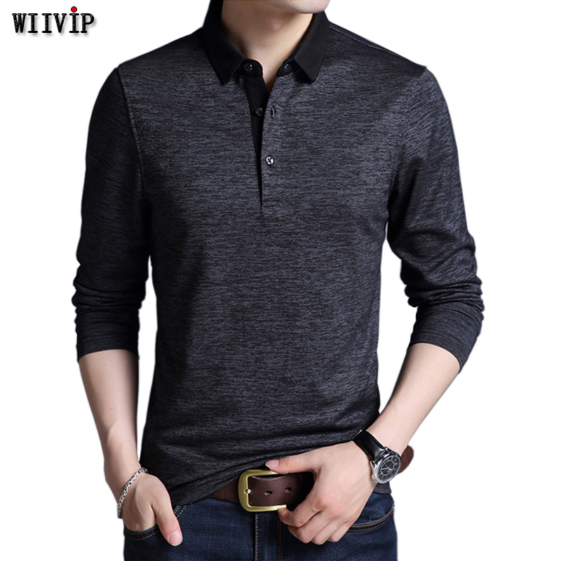 New Autumn Men's Brand Tee Shirt Turn-down Collar Slim Fit Long Sleeve Men Trend Casual Male T Shirts Good Colors y110