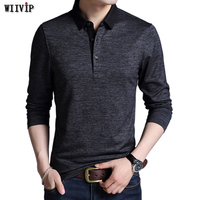 New Autumn Men's Brand Tee Shirt Turn down Collar Slim Fit Long Sleeve Men Trend Casual Male T Shirts Good Colors y110