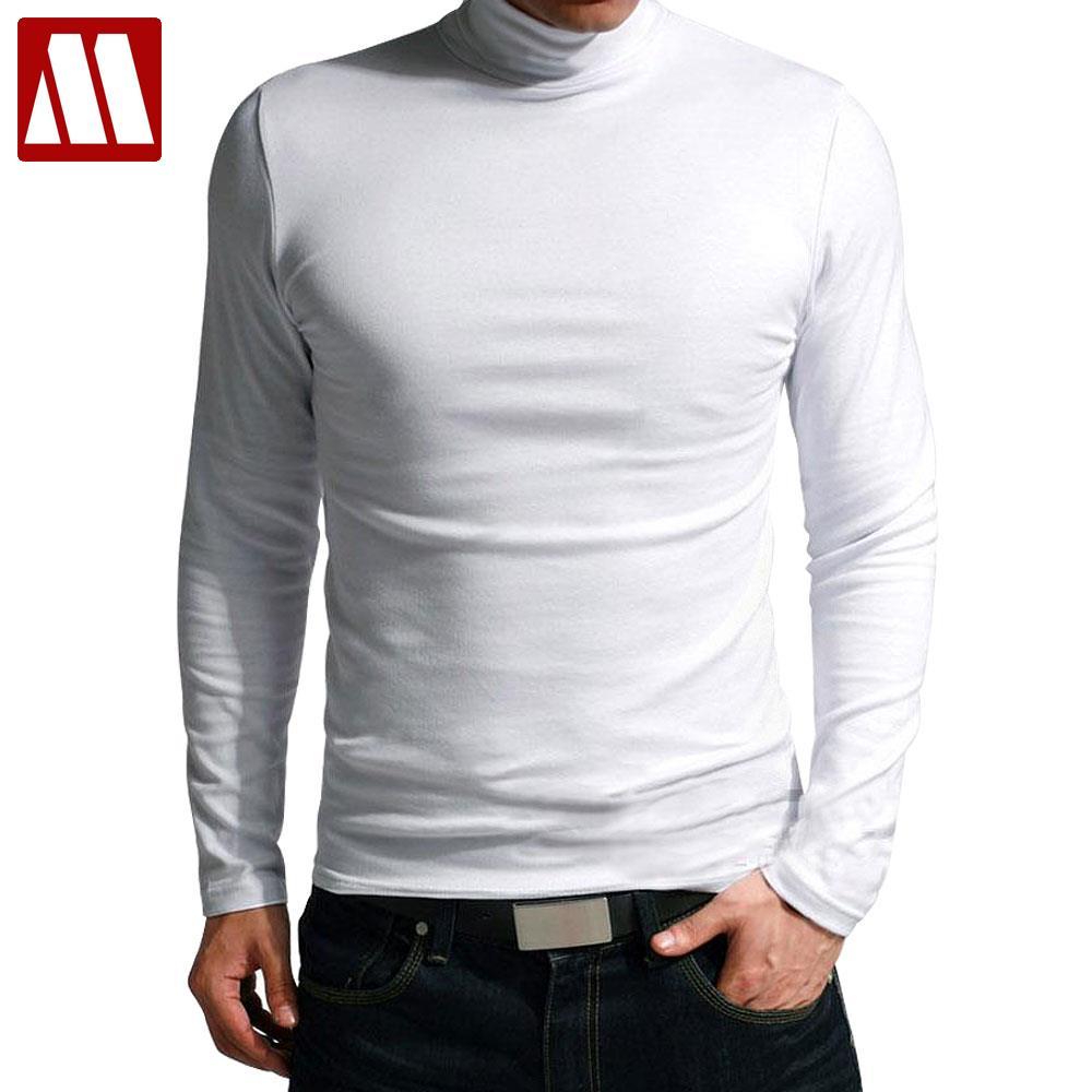 HOT SALE 2018 New Fashion Brand High-necked Collar Slim Fit Long Sleeve T Shirt Men Trend Casual Men T-Shirt Cotton T Shirts 3XL