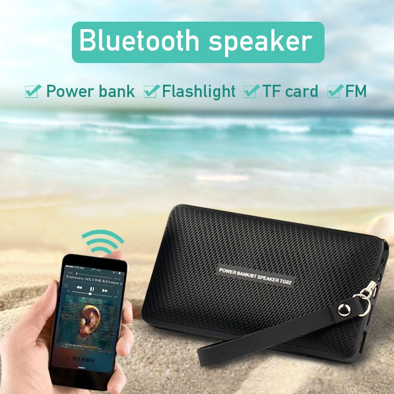 TG02 Portable Bluetooth Speaker Wallet Shape Wireless Handsfree MIC Power Bank with LED Support TF Card FM Radio