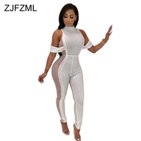 Side Mesh Patchwork Sexy Perspective Bodysuit Women Shiny Rhinestones Club Party Overall Fashion Stand Collar One Piece Jumpsuit