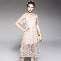 AOFULI Brand L To 5XL Plus Size Dress 2017 New Designer Women Summer Embroidery Tulle Party