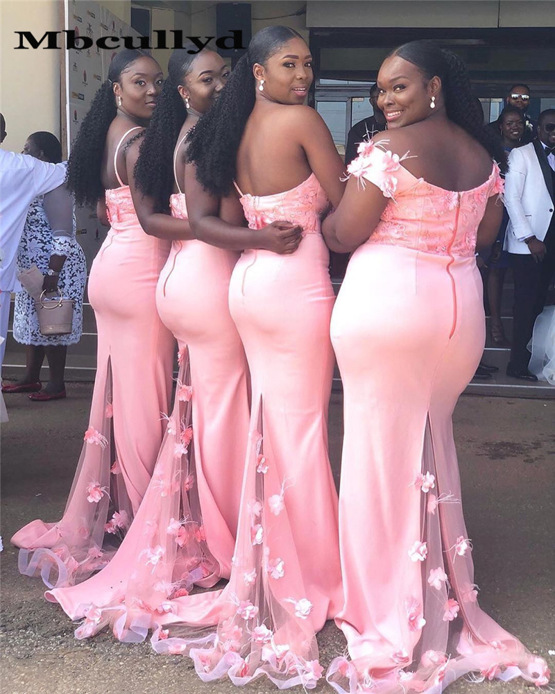 Mbcullyd Pink Mermaid Bridesmaid Dresses With Flowers 2020 Cheap Off Shoulder Long African Dress Wedding Party For Women