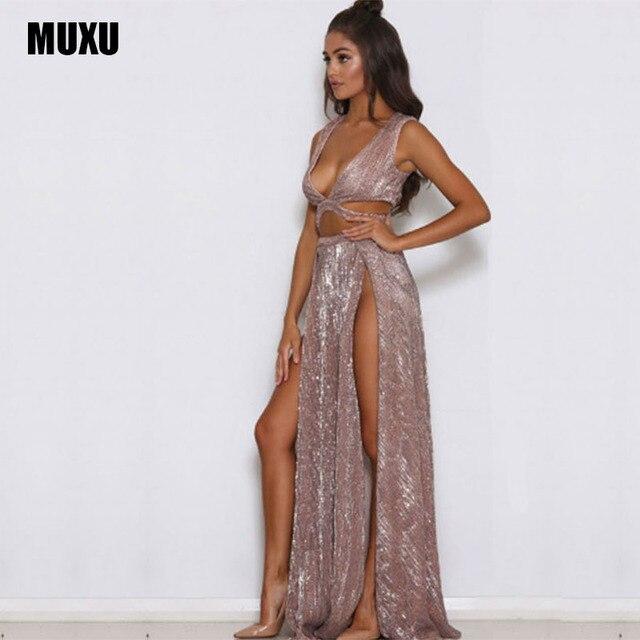 MUXU fashionable RED sexy dress sequin glitter woman backless dress  sleeveless womens clothing party bodycon roupa c61135e5a3e4