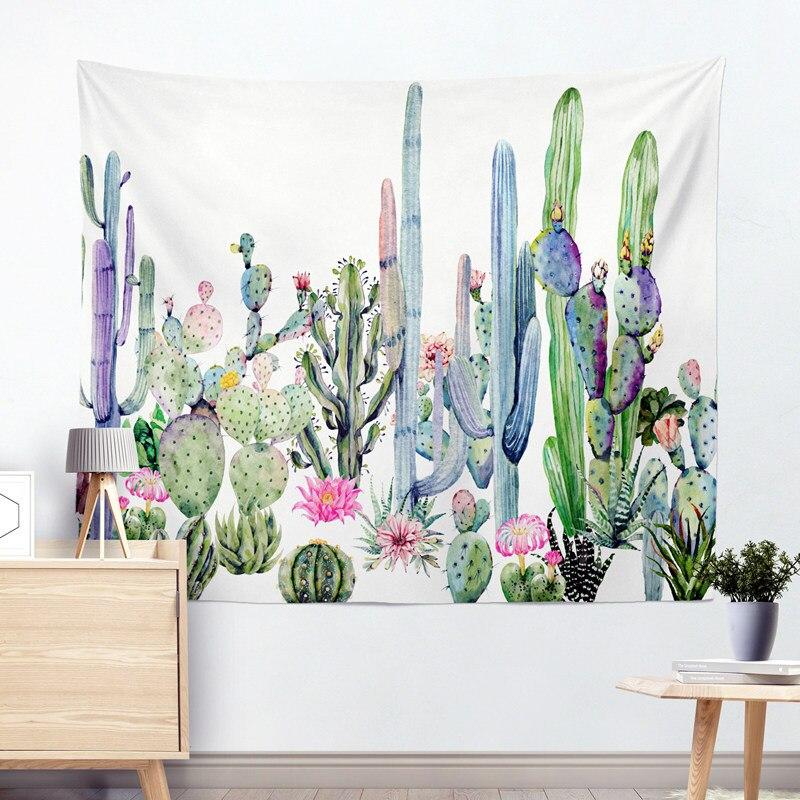 Envío de la gota Cactus acuarela tapices de pared colgante Mandala tapicería Bohemia paisaje Wall Art mantón lanzar
