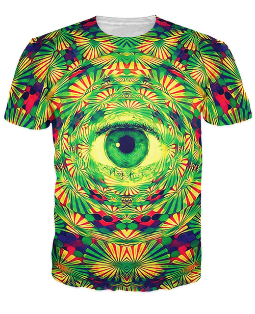 Ojo Camiseta trippy psicodélico patrón lleva a un ojo que todo lo ve vibrante diseño Mujeres de la camiseta de Los Hombres camisetas de Verano tops Estilo
