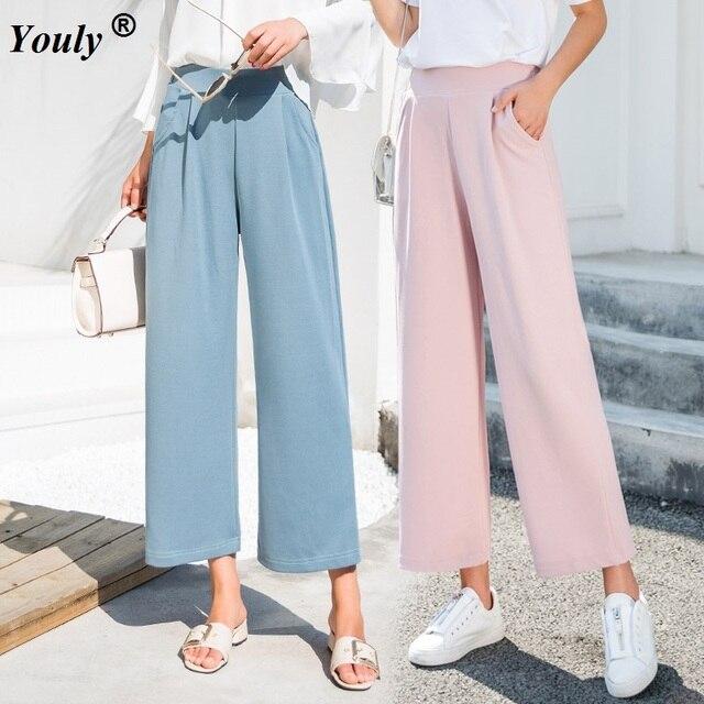a6e02e57e5406 Women Casual Wide Leg Ankle-Length Pants 2019 High Elastic Waist OL Formal  Trousers Solid Office Lady Loose Stretch Pants Capris