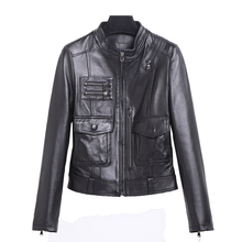 2018 Women Black Slim Fit Real Biker's Leather Jacket Genuine Sheepskin Short Spring Female Riding Leather Coat FREE SHIPPING