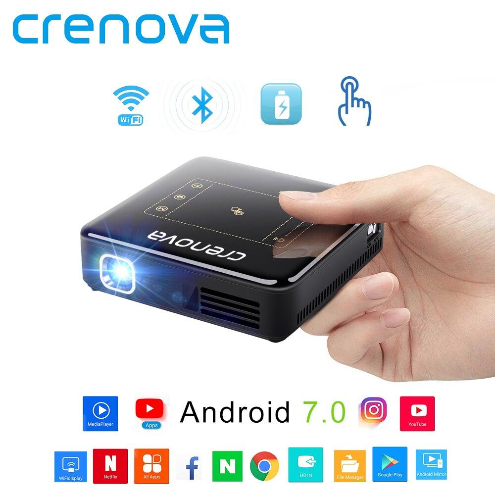 CRENOVA plus récent DLP projecteur pour Full HD 4K avec Android 7.1 Bluetooth 4.0 Mini projecteur pour Home cinéma 300 pouces Beamer