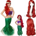 A PEQUENA SEREIA ARIEL Curly onda perucas peruca cosplay anime cabelo peluca vermelho Top coreano hairnet cabelo kanekalon cabelo sintético