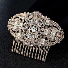 Blucome Wedding Bridal Hair Accessories Fashion Rhinestone Crystal Hair Clip Hair Combs brand Bridal Hairwear Bijuteriras