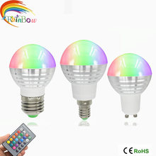 E27 E14 LED RGB Bulb lamp AC110V 220V 5W LED RGB Spot light dimmable magic Holiday GU10 RGB lighting+IR Remote Control 16 colors(China)