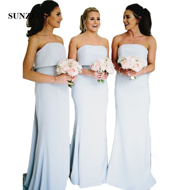 Strapless Blue Bridesmaid Dresses Long Sheath Chiffon Wedding Party Dresses Backless with Bow Prom Gowns vestido de festa SBD22