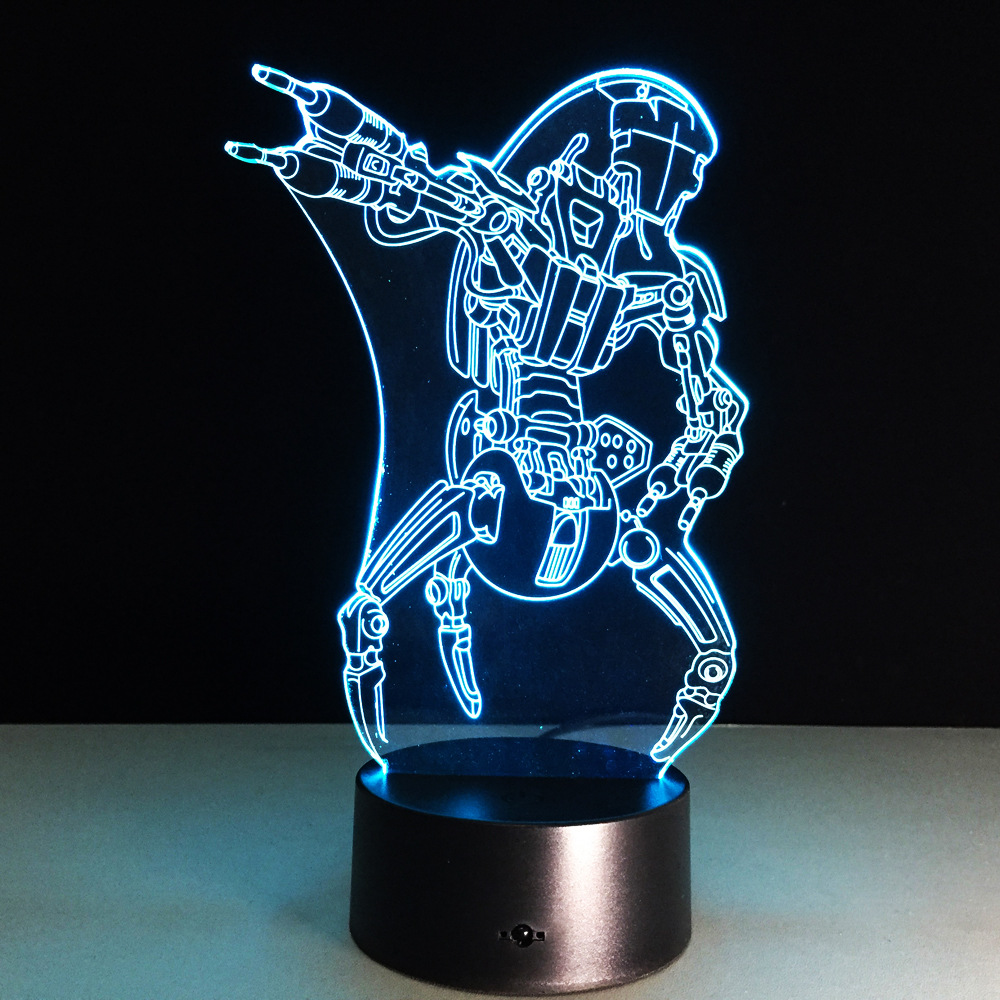 Star Wars Lamp 3D Visual Led Desk Villain Jedi Robot Illusion Touch USB Night Light Child