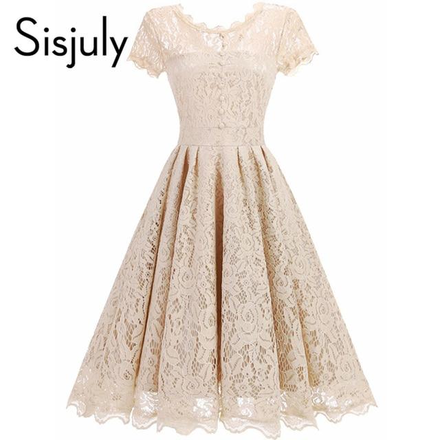 Sisjuly vintage women dress a line 1950s summer dress lace o neck black button chic elegant female party dresses for girl 2019