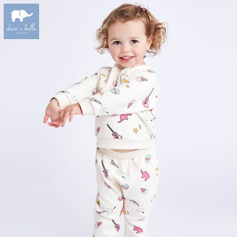 DB7021 dave bella spring baby girls clothing sets kids print suit children toddle outfits high quality