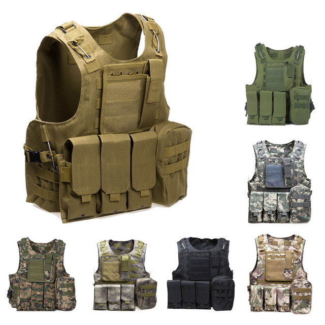 Military Tactical Vest Army Airsoft Molle Vest Combat Hunting Vest with  Pouch Assault Plate Carrier CS 582753259a2