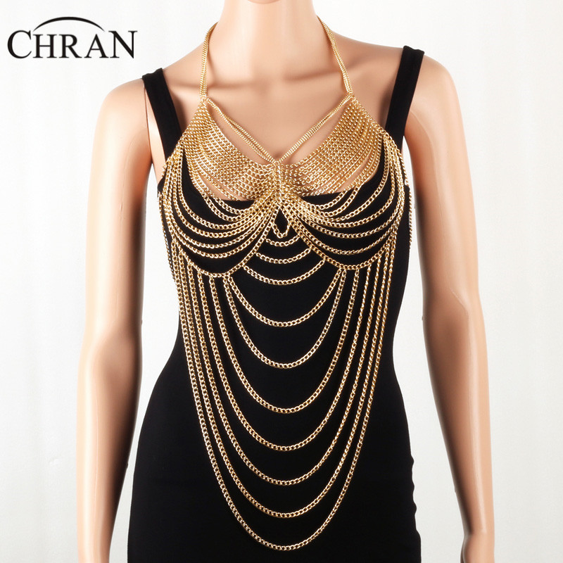 Chran Gold Tone Beach Chain Wear Women Harness Necklace Ethnic
