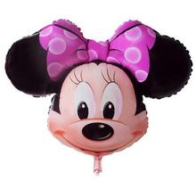 3pcs/lot Cartoon Minnie Mouse Head Foil Balloons Kids Happy Birthday Party Decoration Baby Shower Classic Toys Gift