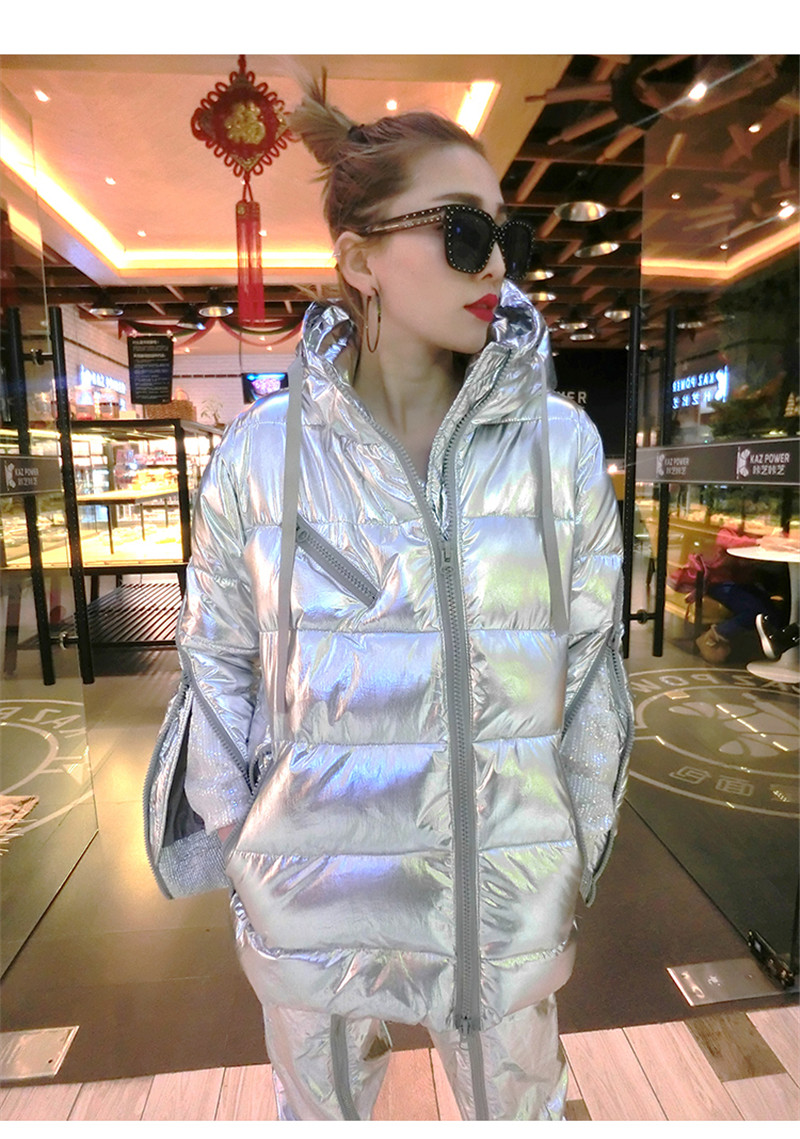 Women Warm Winter Coats Fashion Shiny Hooded Down Jackets Oversize Padded Thick   Parkas   Laser Metallic Silver Coats Streetwear