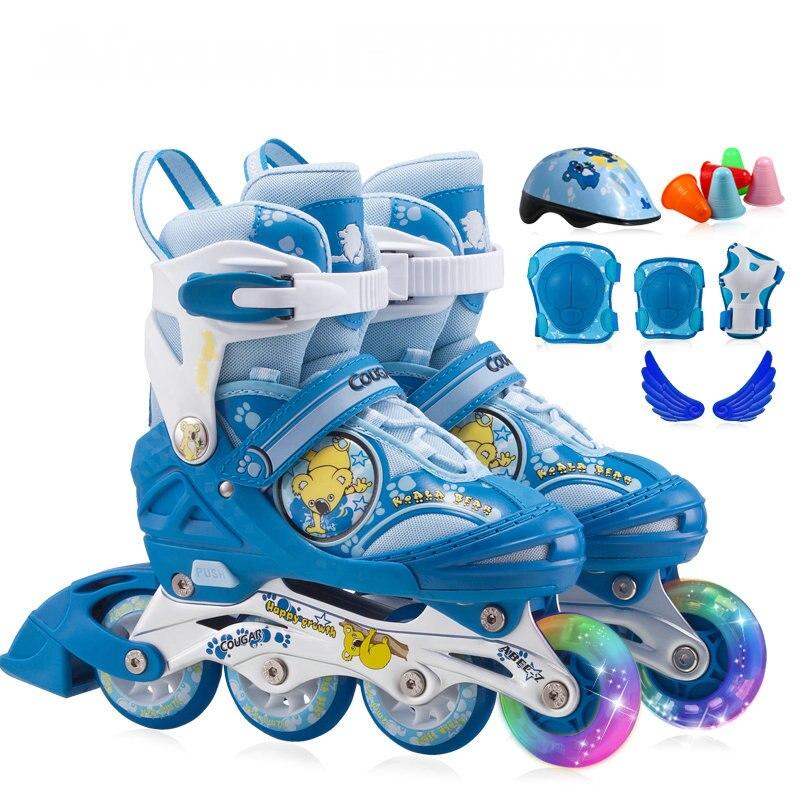 4 grade ajuster la taille enfants patins à roues alignées, PU roue enfants patins à roulettes avec ABEC-7 portant, roue avant flash enfants patins chaussures